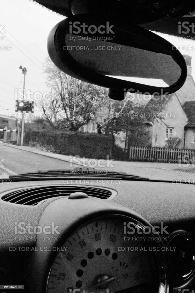 Dashboard on a Mini Cooper stock photo