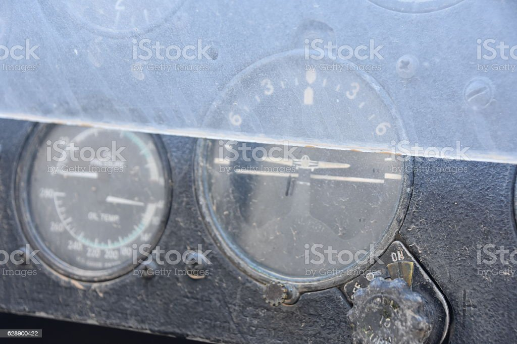 Dashboard plane close-up stock photo