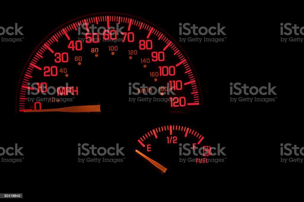 Dashboard Speedometer Gas Gauge stock photo