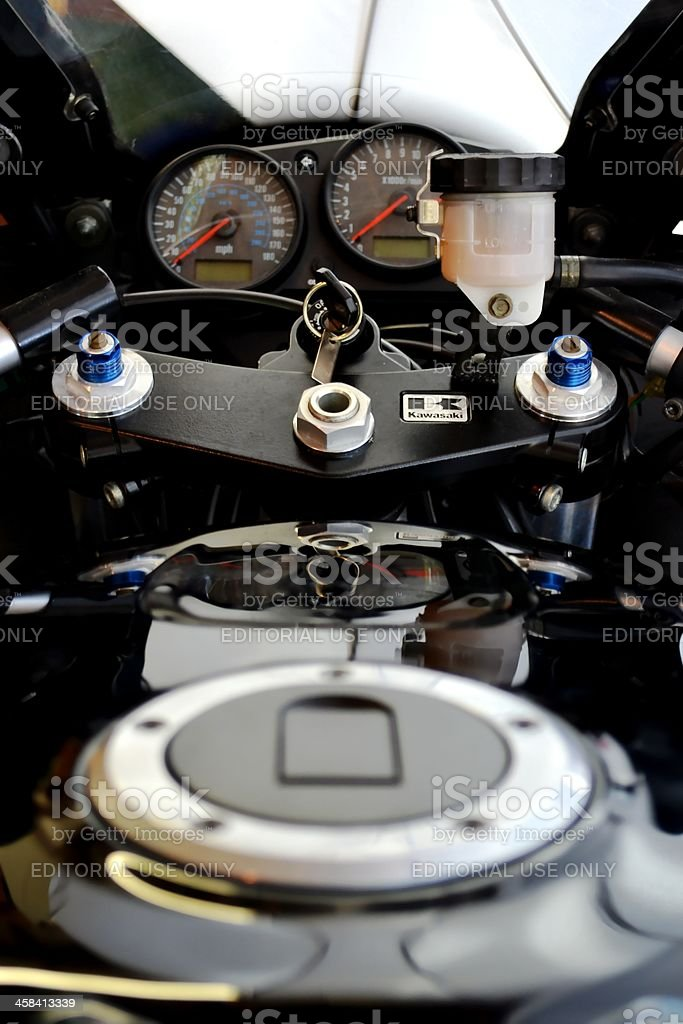 Dashboard, Steering, and Seating Assembly of a 2007 Kawasaki ZZR stock photo