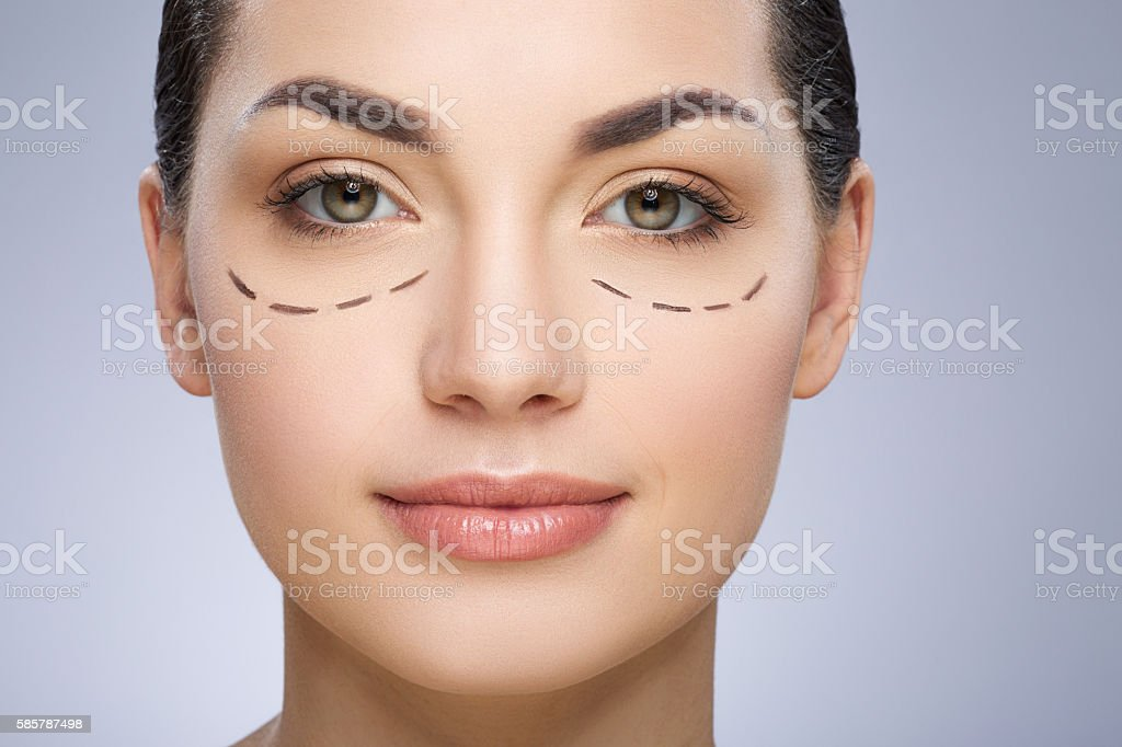 Dashed line under girl's eyes stock photo