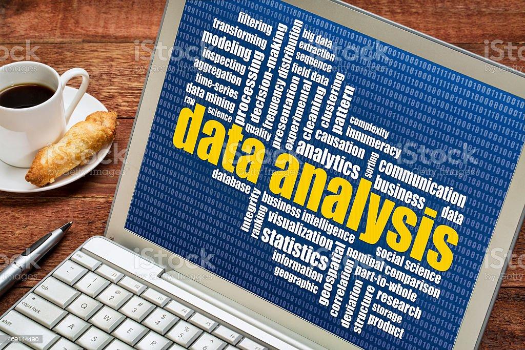 data analysis word cloud on laptop stock photo