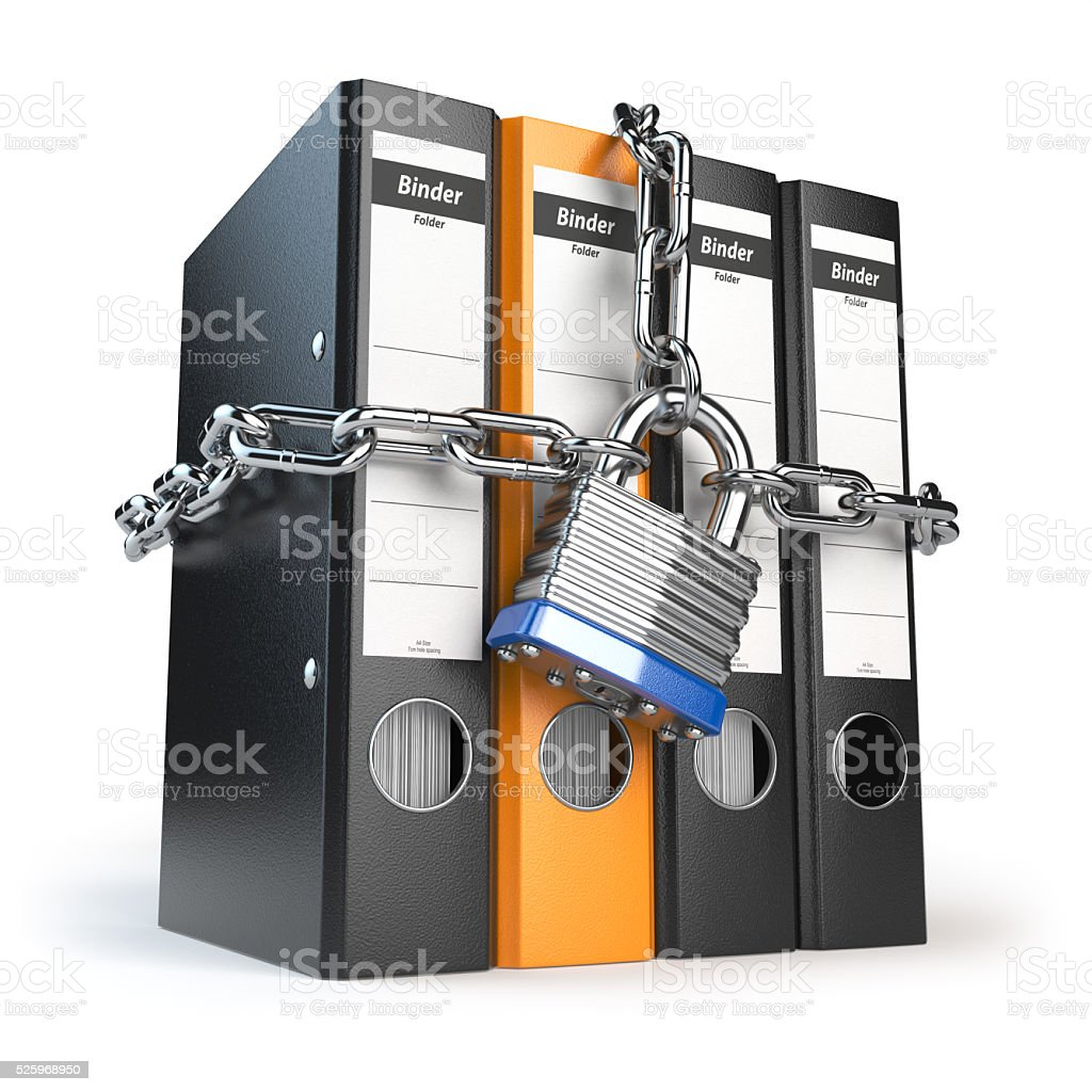 Data and privacy security. Information protection. File folder a stock photo