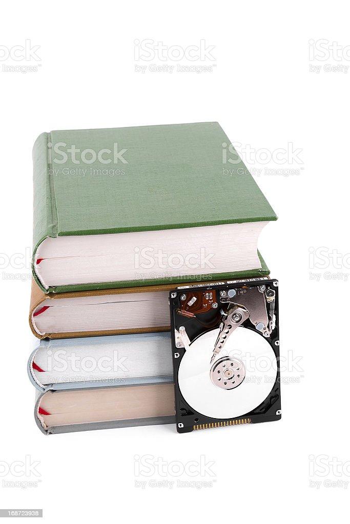 Data base:hard disk and book royalty-free stock photo