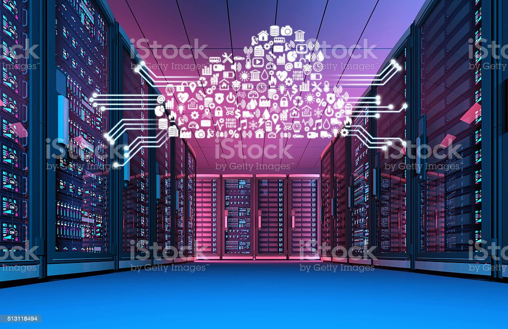 Data center at night with cloud computing icons stock photo