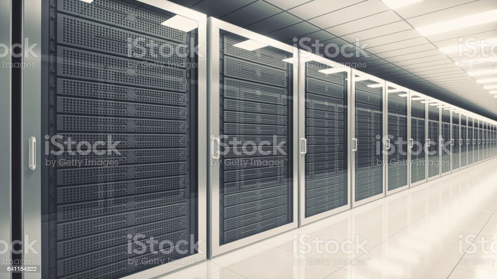Data Center Network Servers In A Row stock photo