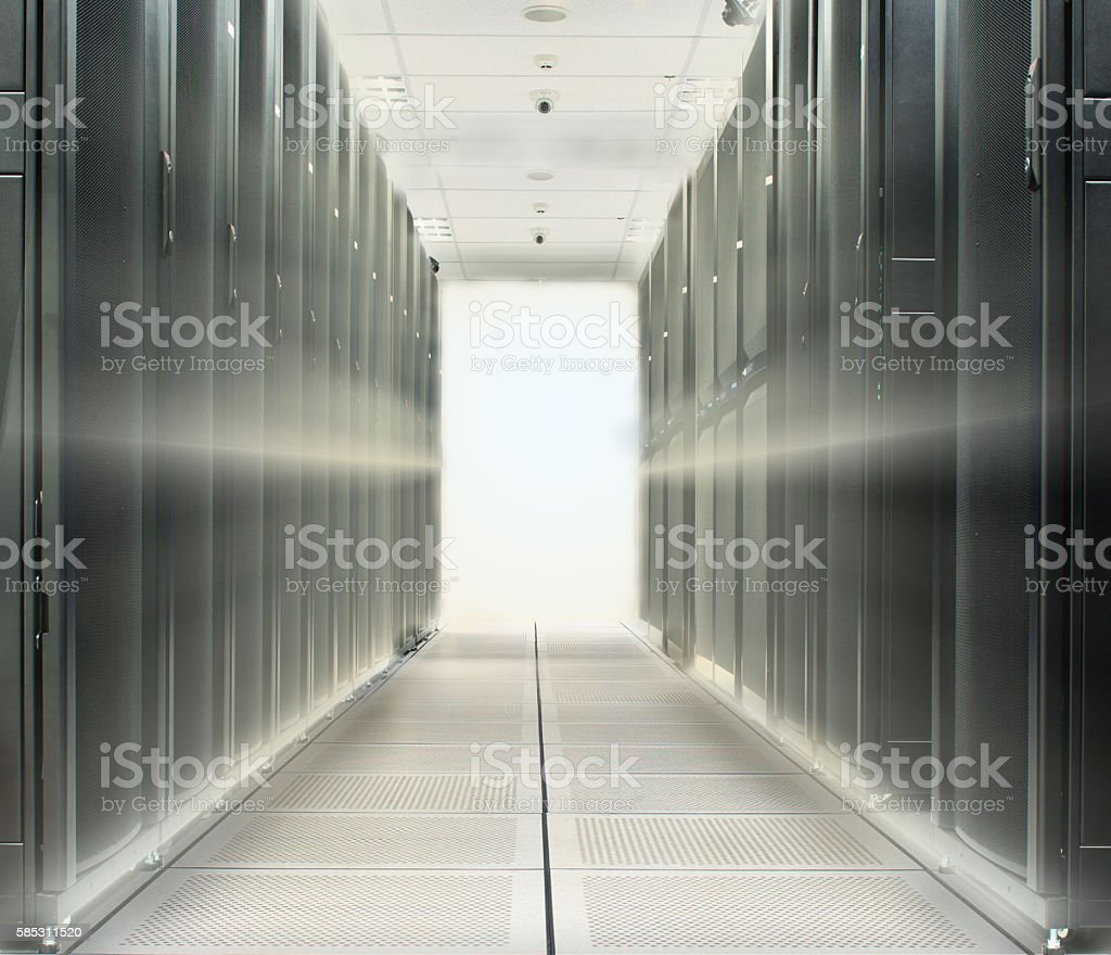 Data center over lighting beam from back stock photo