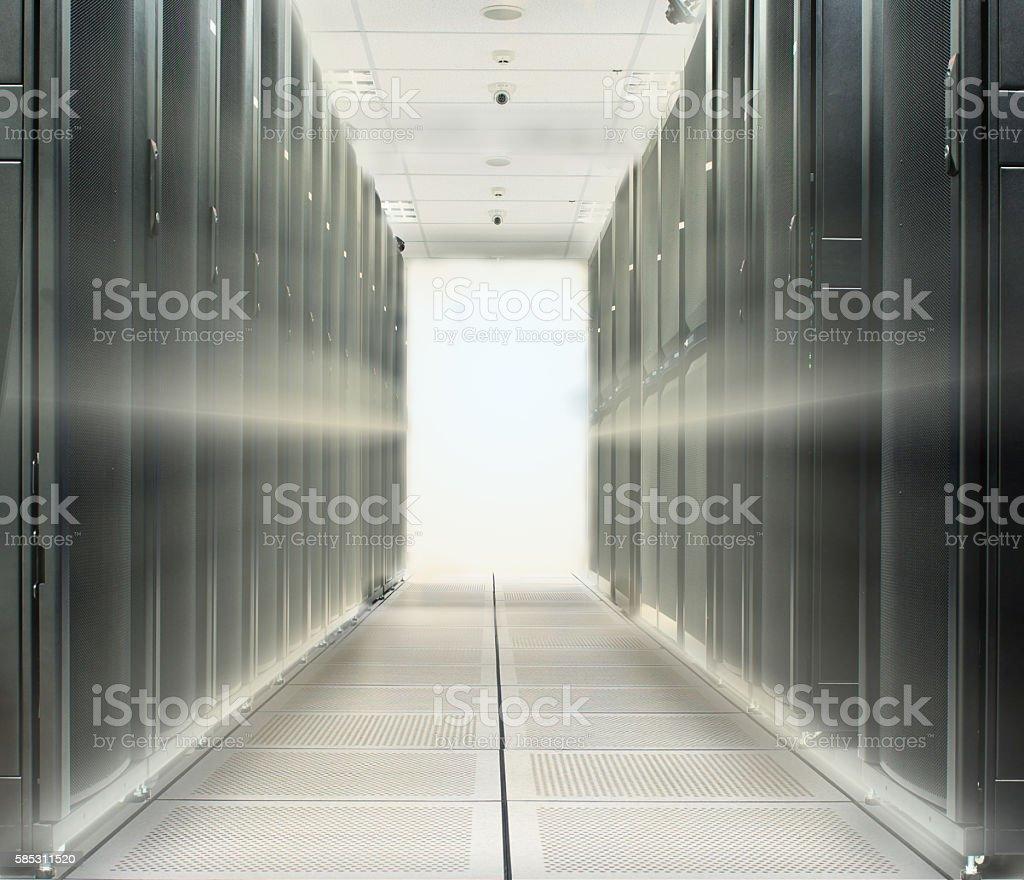 Data center over lighting beam from back stock photo