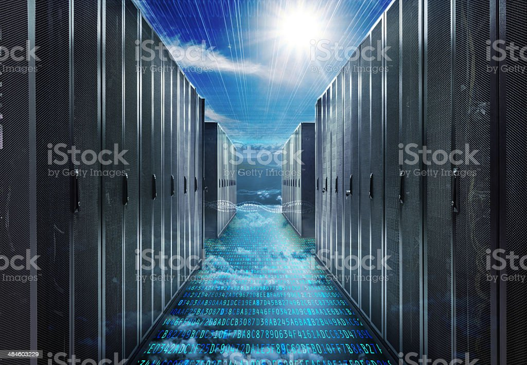 Data Center Servers in the Digital space stock photo