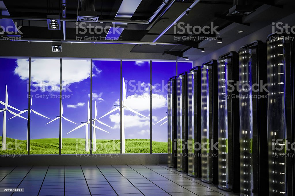 Data center use clean energy stock photo