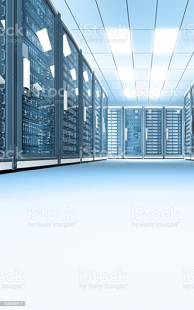 Data center with rows of network servers, bright illumination, vertical stock photo