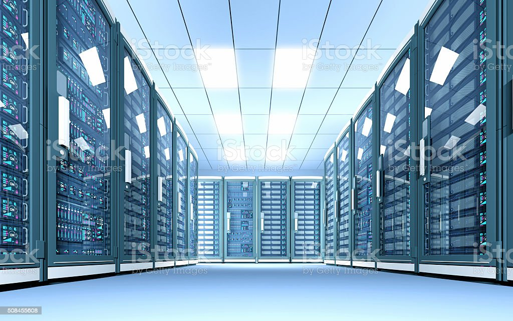 Data center with rows of network servers, bright white illumination stock photo