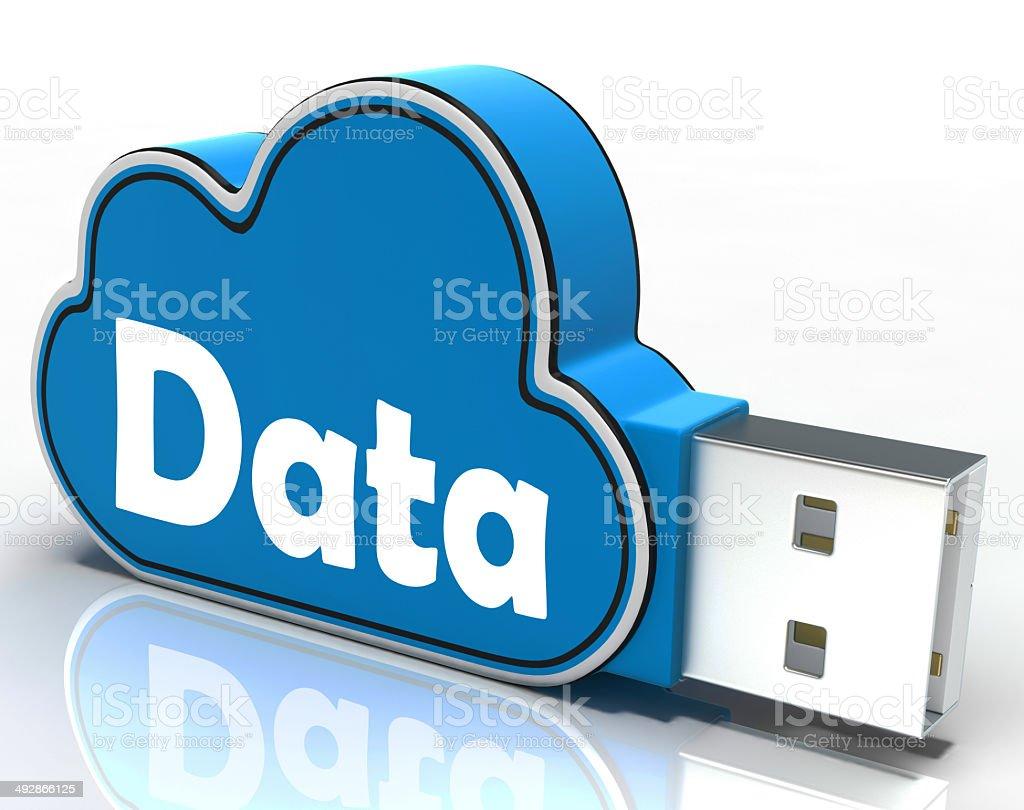 Data Cloud Pen drive Shows Digital Files And Dataflow stock photo