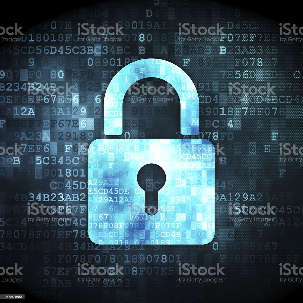 Data concept: Closed Padlock on digital background stock photo