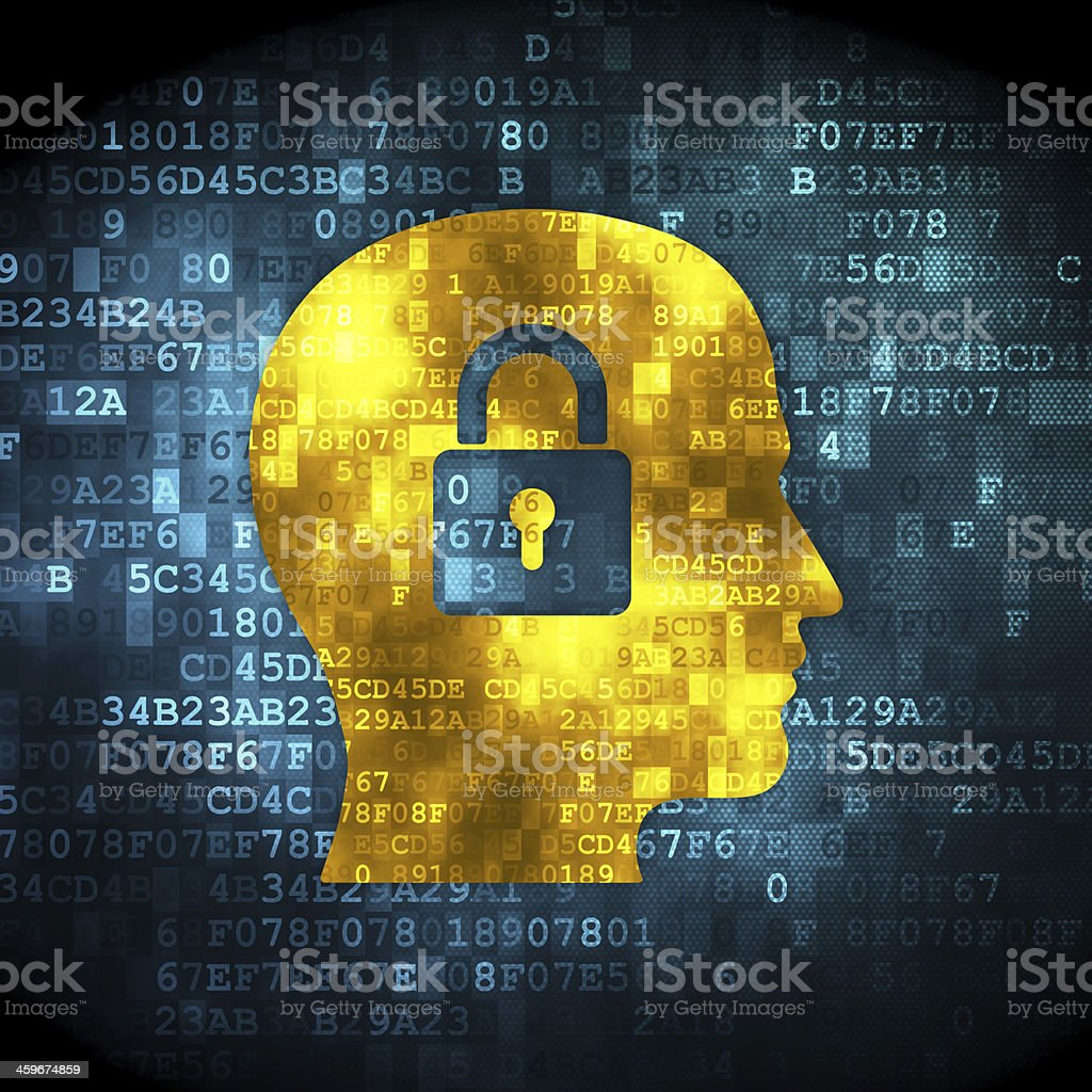 Data concept: Head With Padlock on digital background stock photo