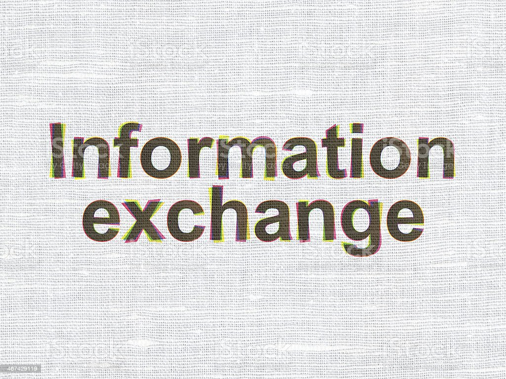 Data concept: Information Exchange on fabric texture background stock photo