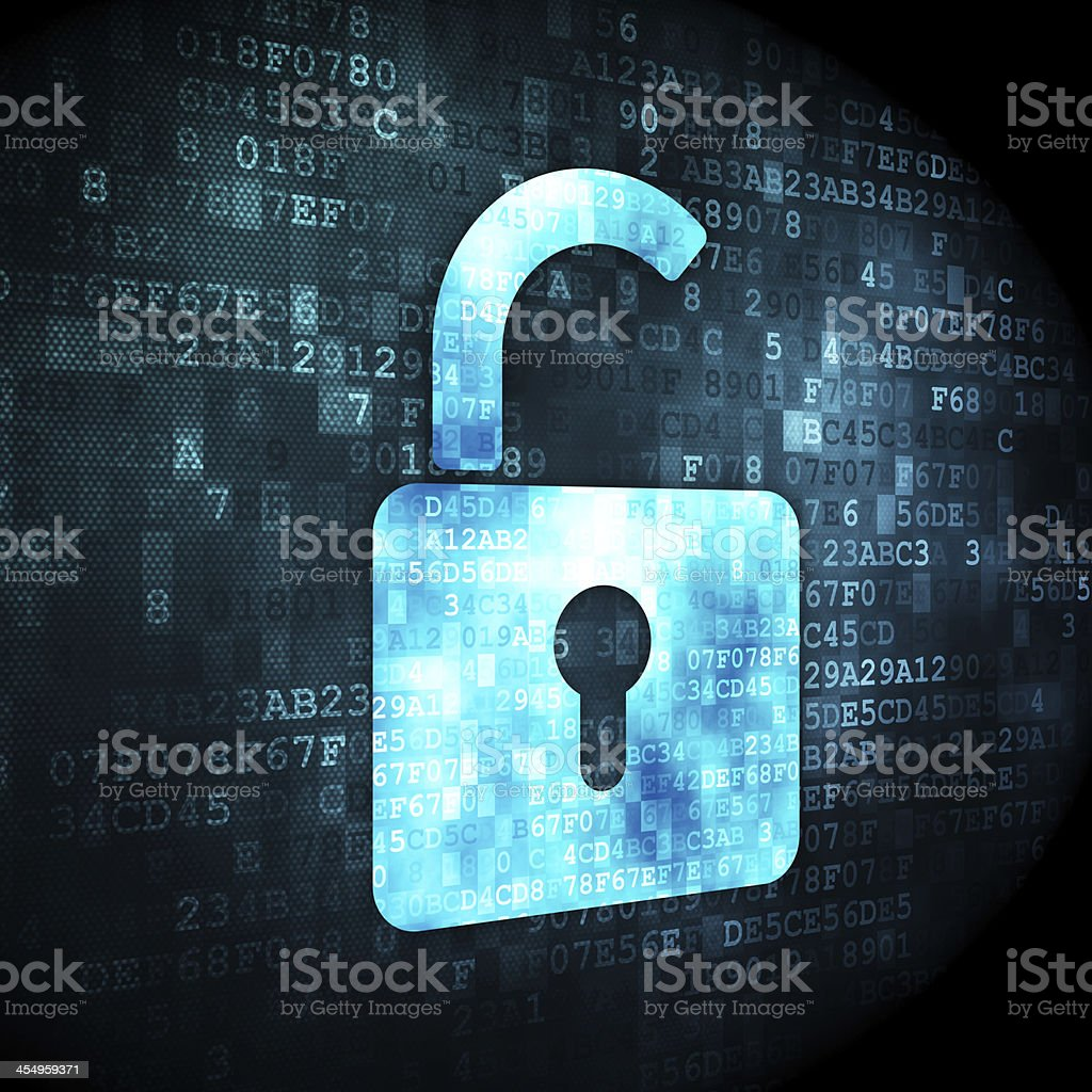 Data concept: Opened Padlock on digital background stock photo