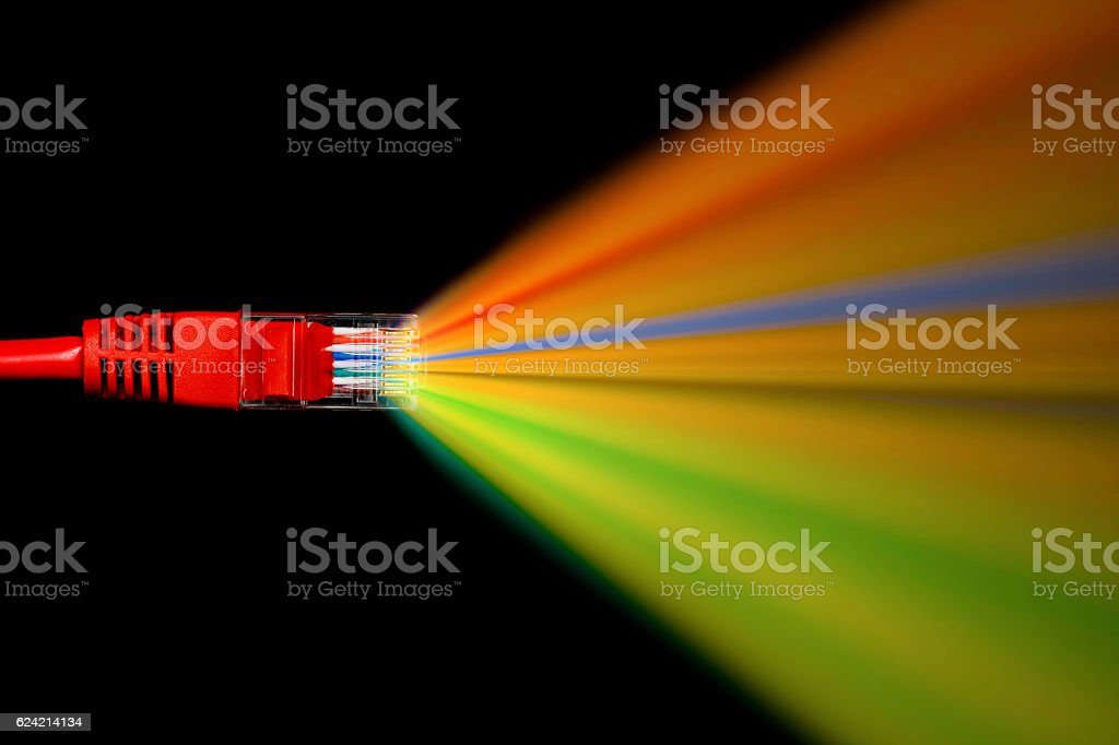 Data connection through network cable stock photo