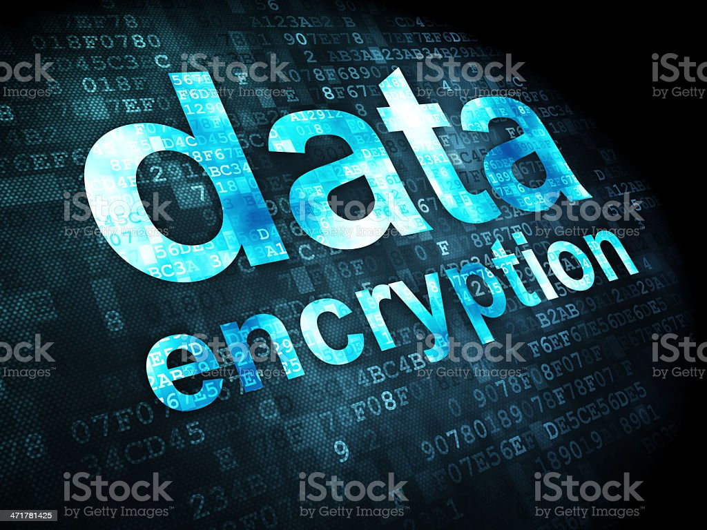 Data encryption with digital background stock photo