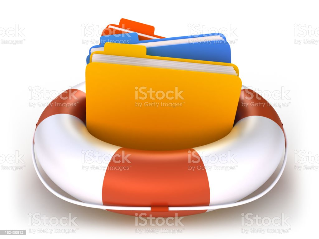 Data folders in life buoy  - isolated with clipping path stock photo