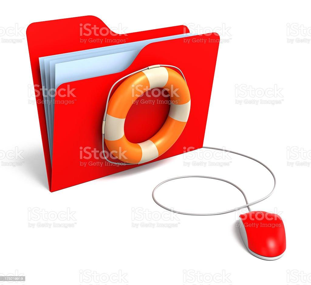 Data folders in Life Buoy royalty-free stock photo