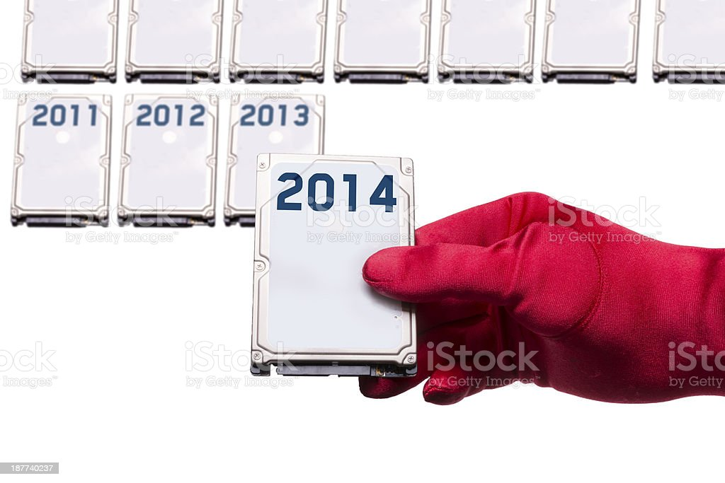 Data for 2014 (glove) royalty-free stock photo