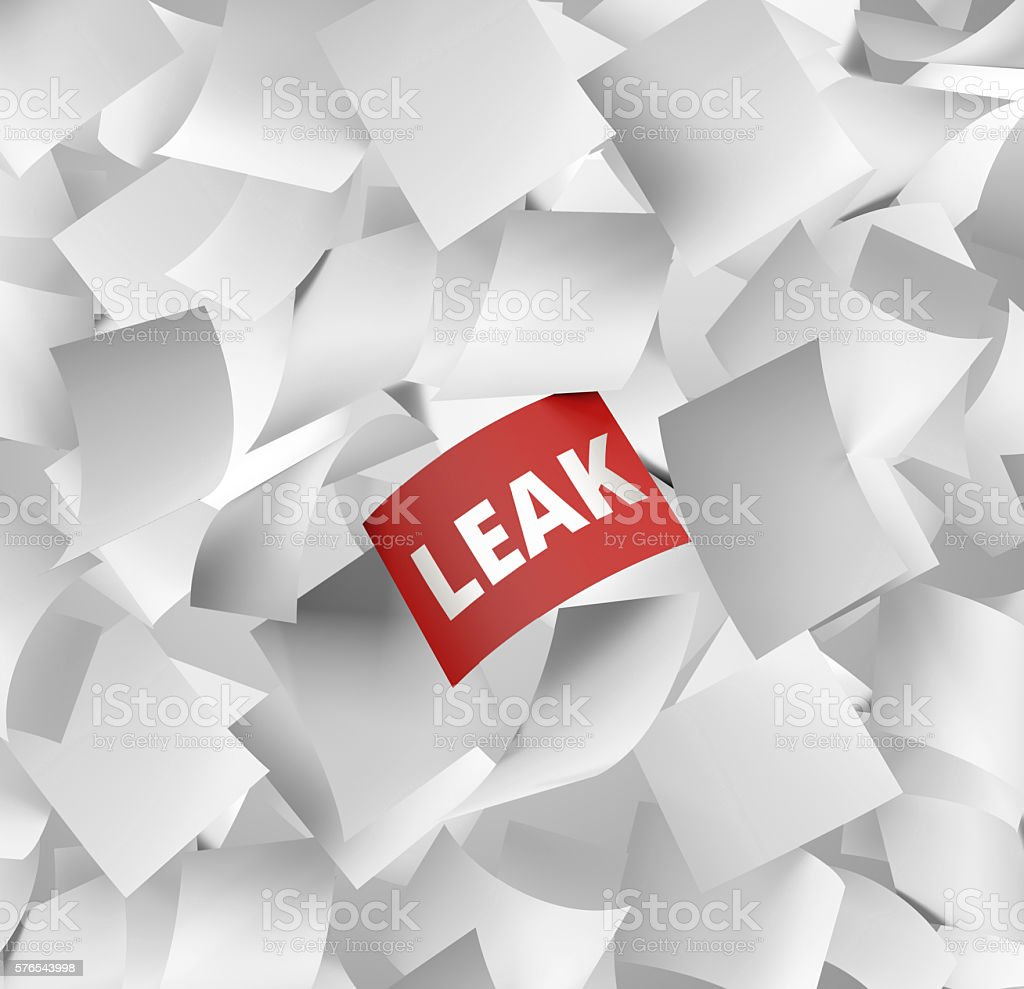 data leak concept with falling papers stock photo