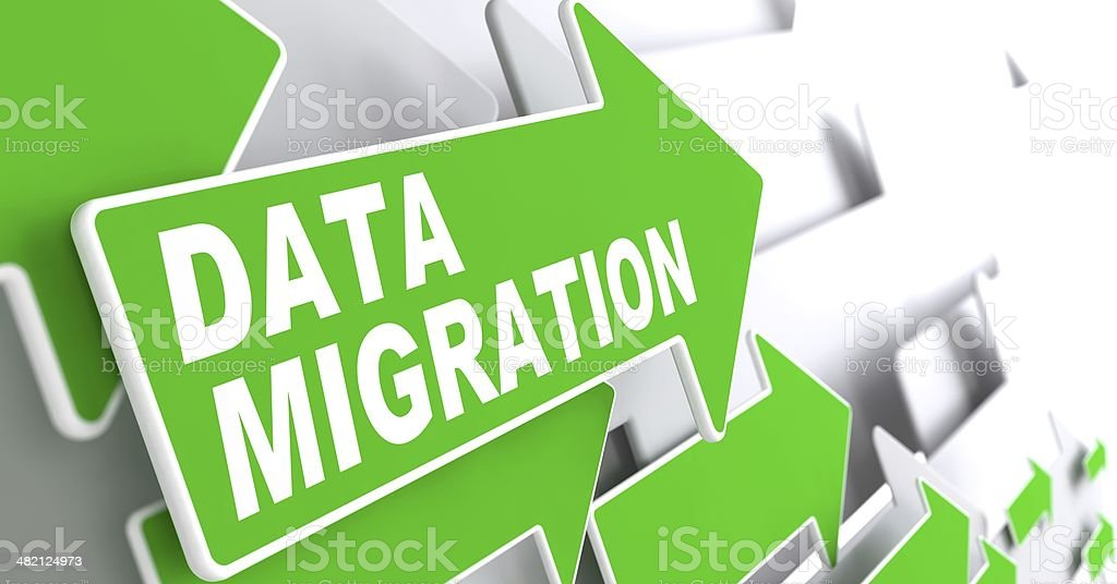 Data Migration on Green Arrow. stock photo