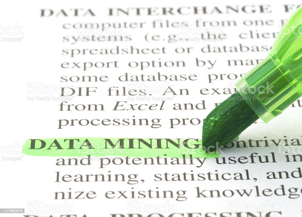 data mining definition highligted in dictionary stock photo