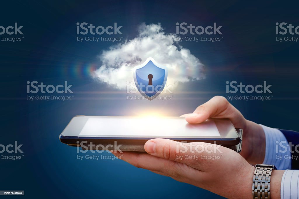 Data protection in mobile devices. stock photo