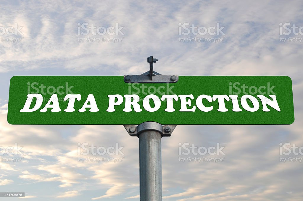 Data protection road sign royalty-free stock photo