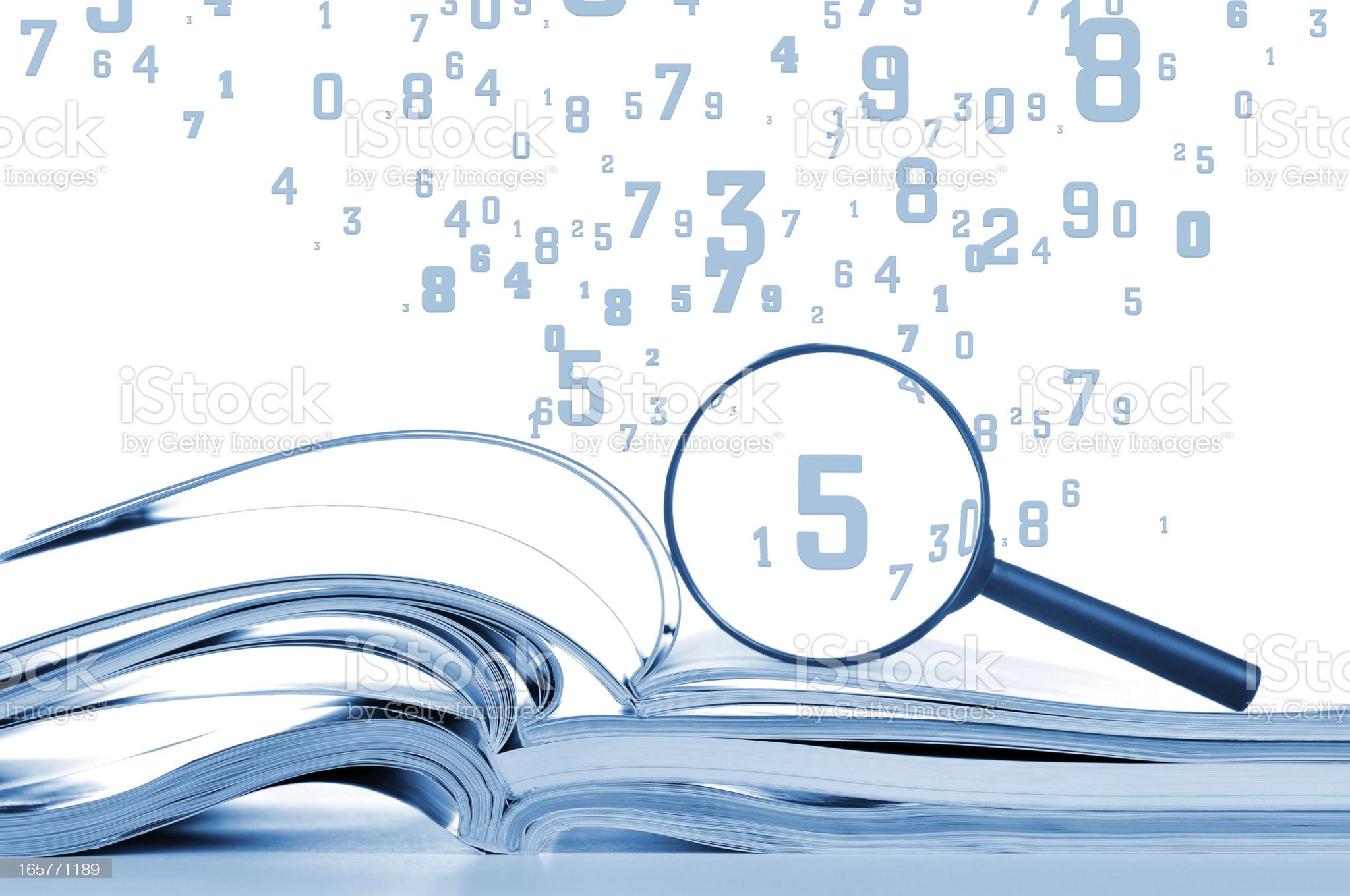Data searching, opened notebooks with magnifier and flying numbers, isolated royalty-free stock photo
