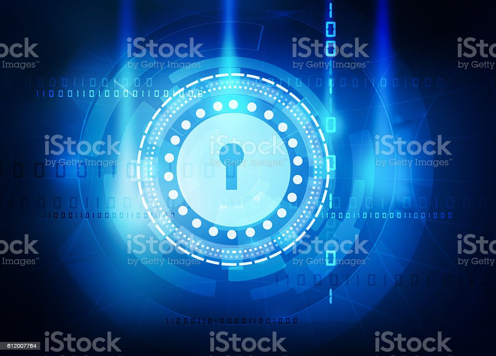 data security abstract blue background vector art illustration