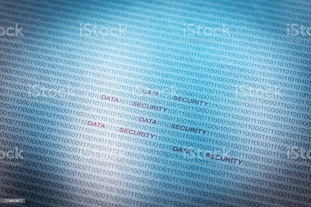 Data security binary code computer printout royalty-free stock photo