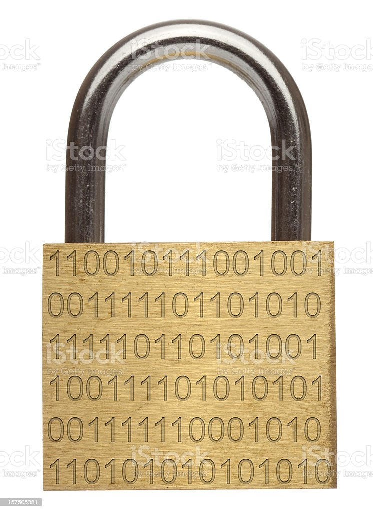 Data security - Brass padlock with binary code royalty-free stock photo