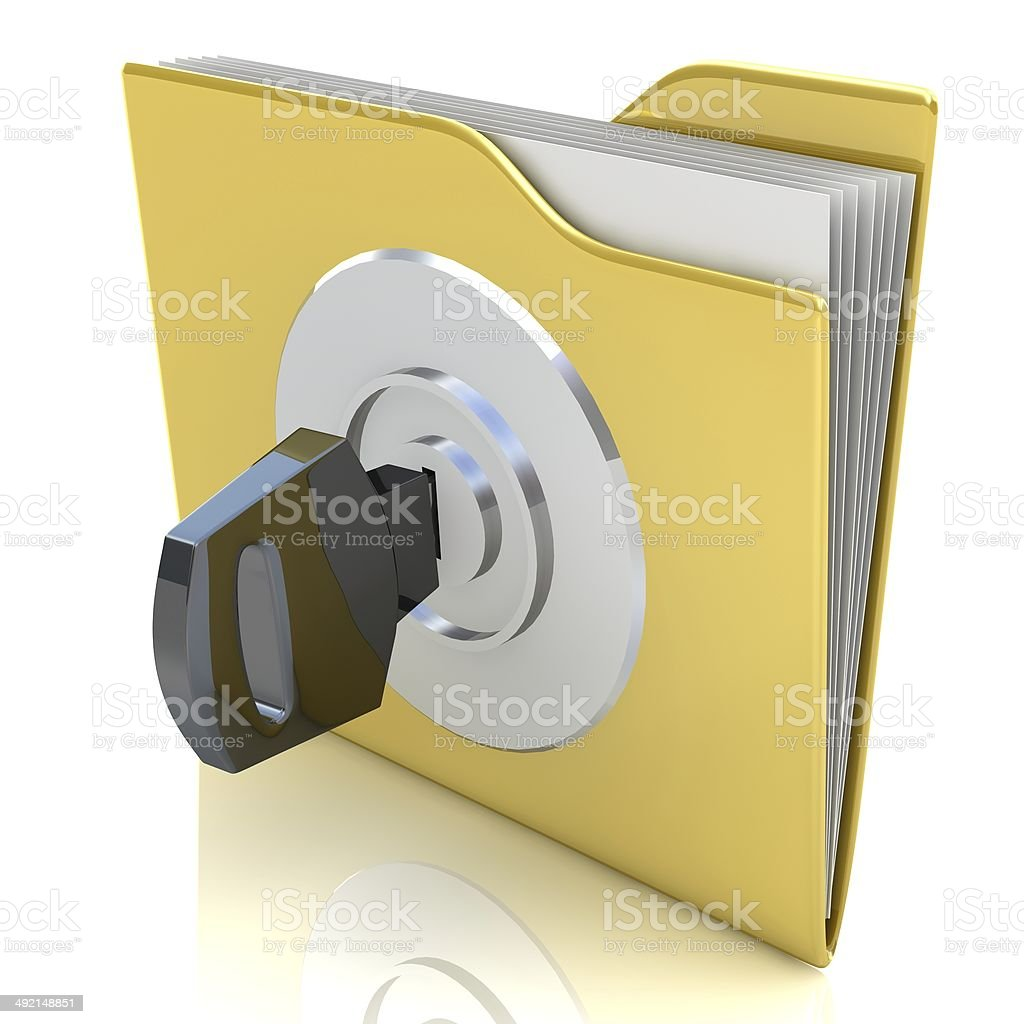 Data security concept. 3D bank file and safe lock. royalty-free stock photo