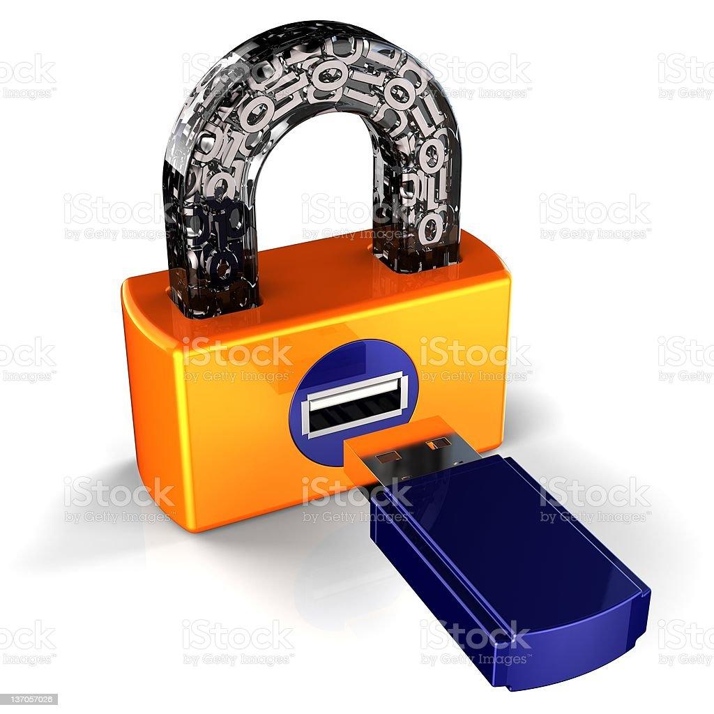 Data security. Digital Usb padlock concept (Hi-Res) royalty-free stock photo