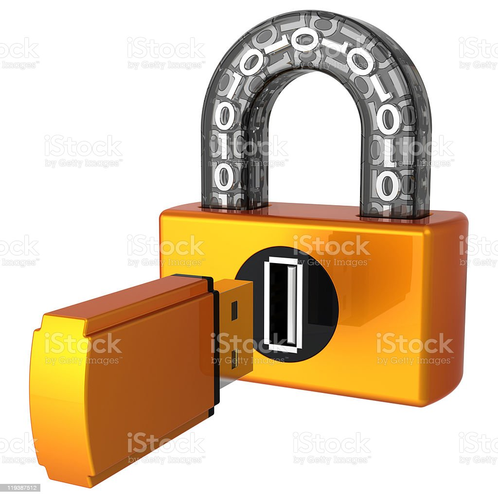 Data security. Usb Digital lock (Hi-Res) royalty-free stock photo