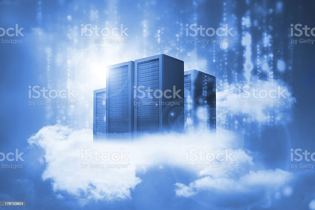 Data servers resting on clouds in blue stock photo