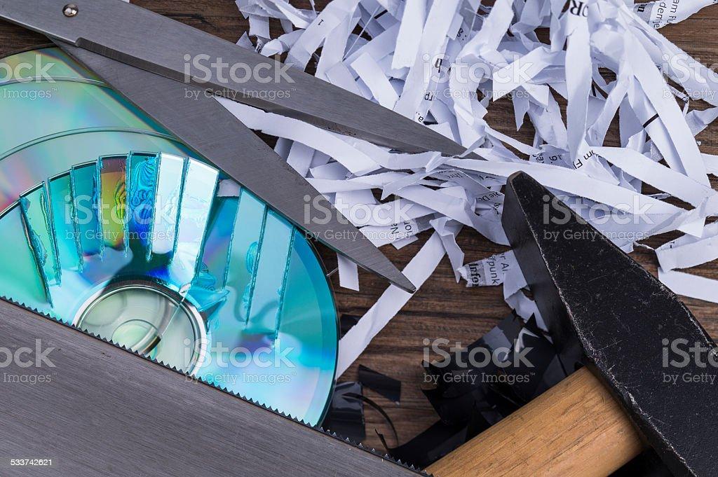 Data shredding stock photo