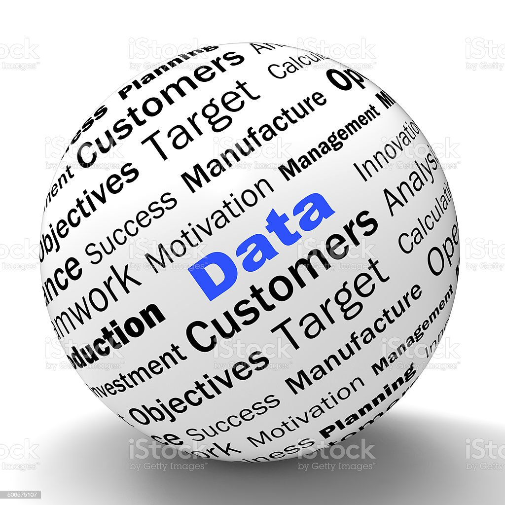 Data Sphere Definition Means Digital Information Or Database stock photo
