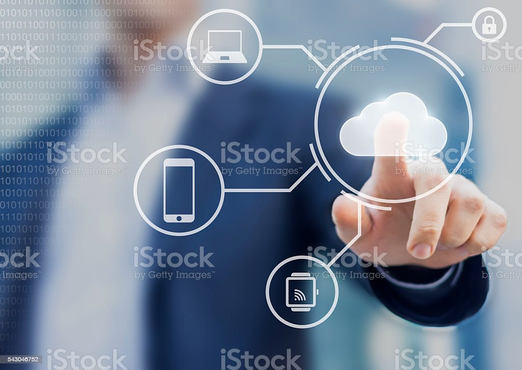 Data storage securely available from all devices with cloud computing stock photo