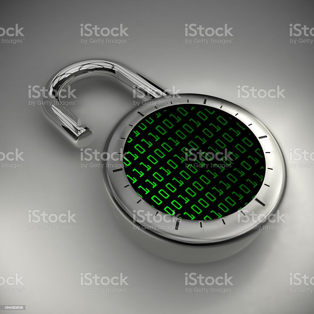 Data unlocked, vulnerable and unprotected stock photo