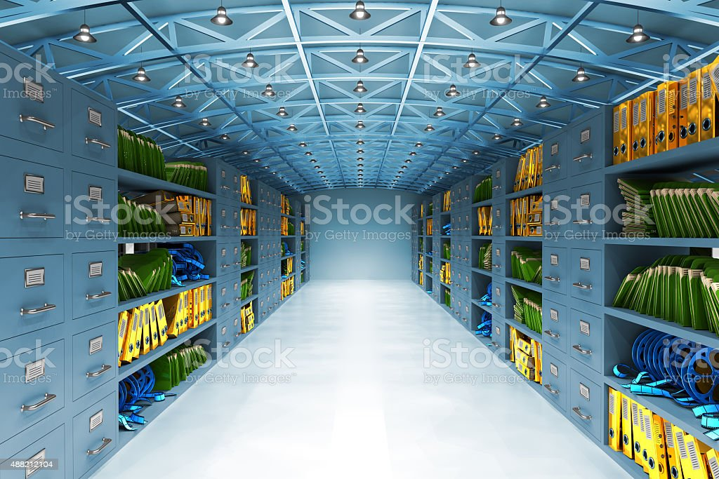 Data warehouse and information storage concept stock photo