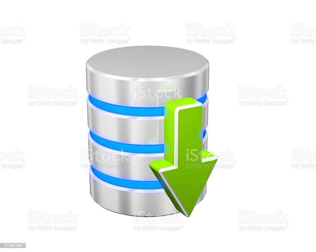 Database and hard disk storage. Download icon stock photo