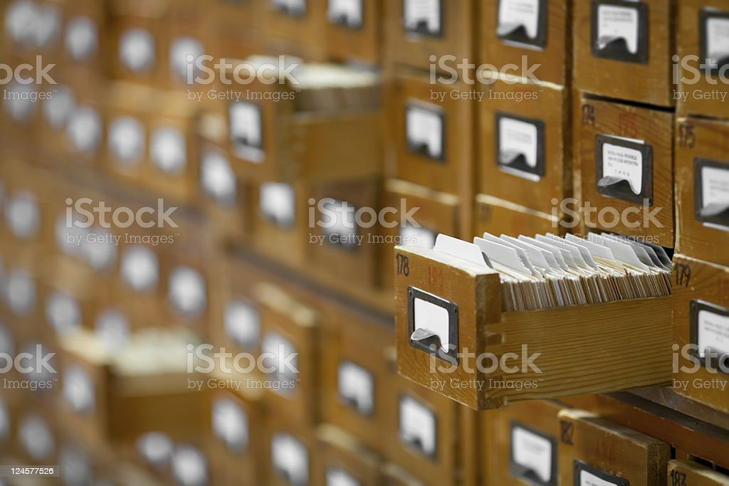 database concept. vintage cabinet. library card or file catalog. stock photo