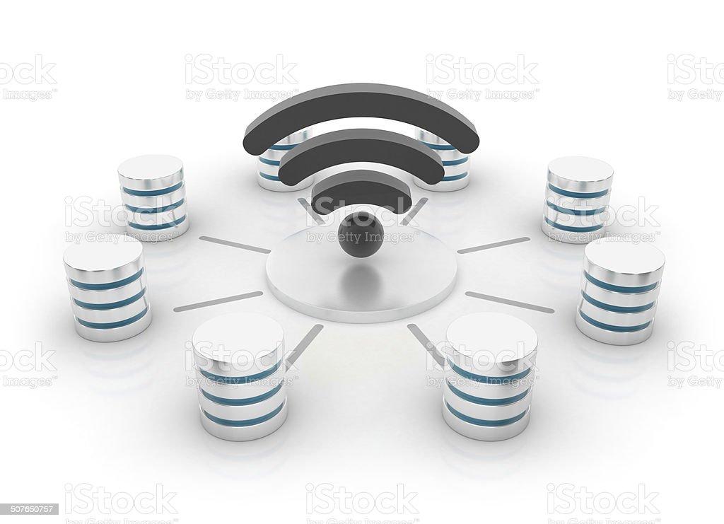 Database concept - wi-fi icon stock photo