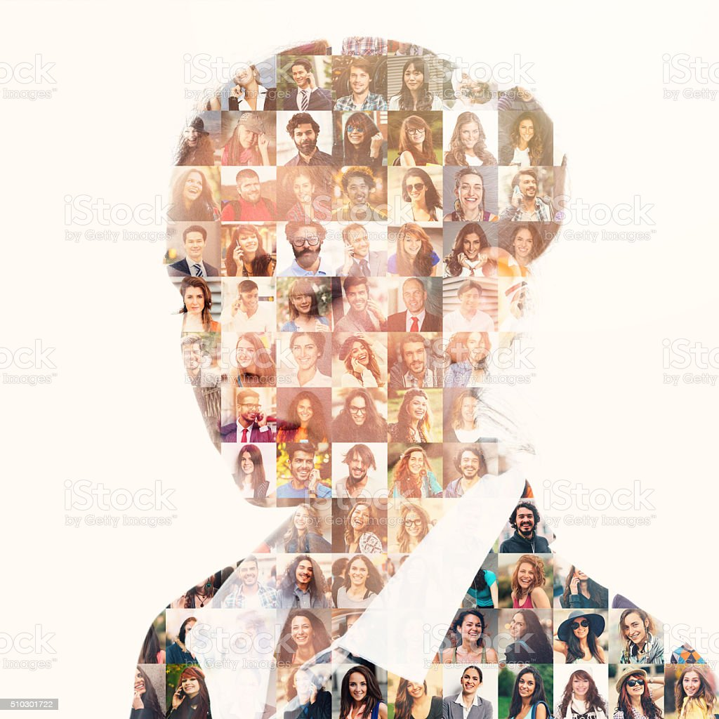Database of different people in businesswoman silhouette stock photo