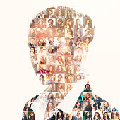 Database of different people in businesswoman silhouette