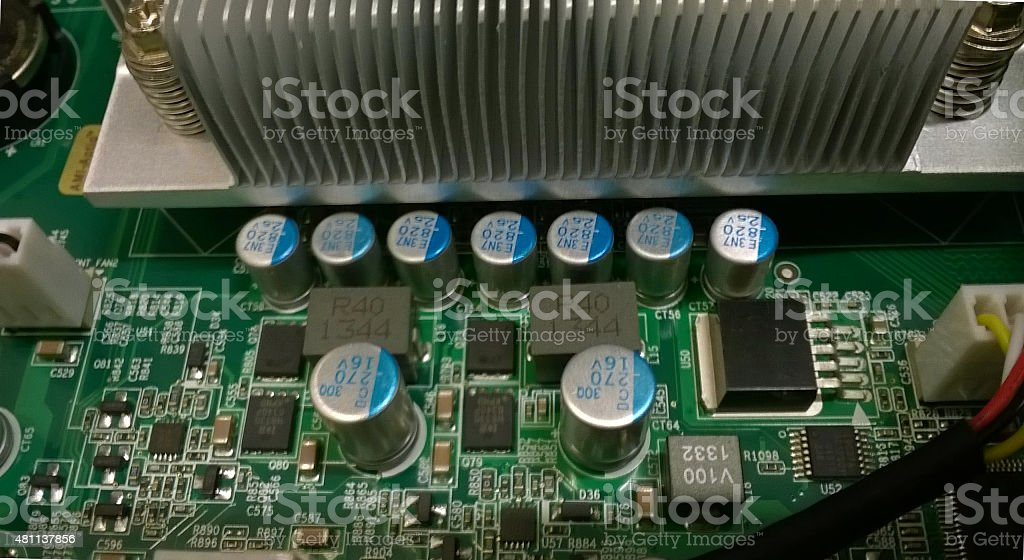 Datacenter server motherboard, closeup stock photo